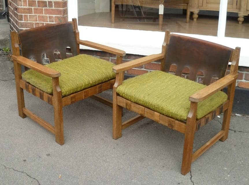Mid-century oak and leather armchairs