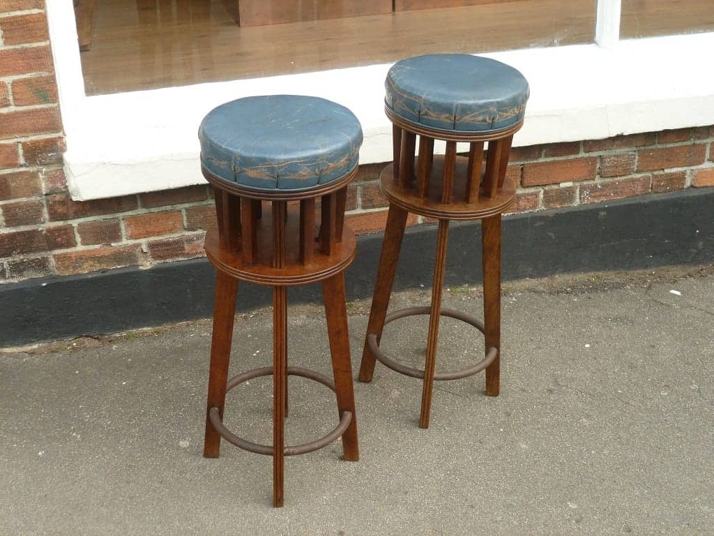 Pair of blue leather arts and crafts stools