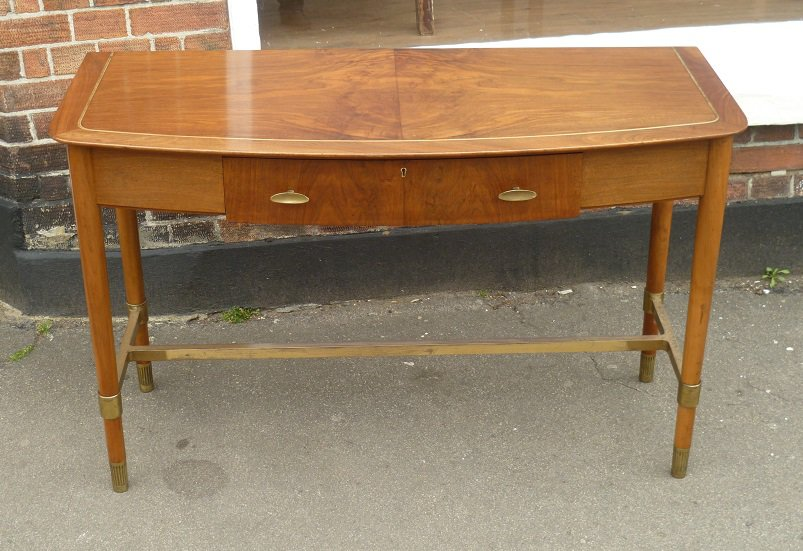 brass and walnut console table