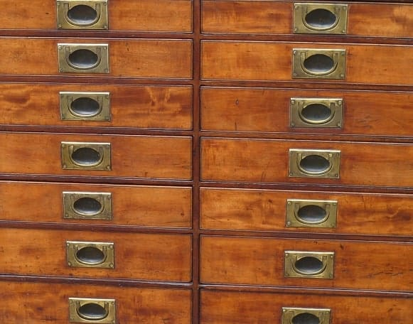 Antique collectors drawers