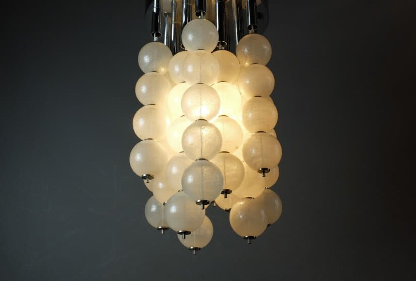 1960's Italian Murano Venini Pulegoso Glass Ceiling Light