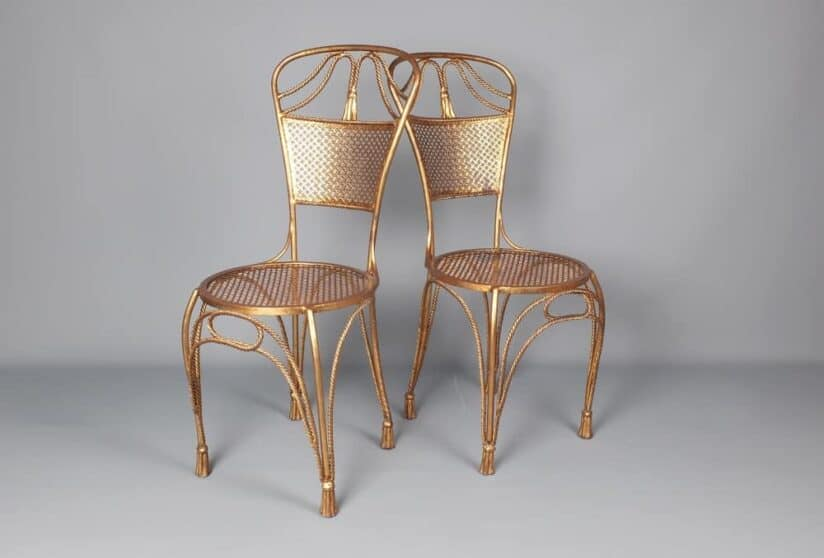 Vintage Italian brass side chairs