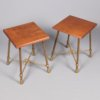 Italian brass and walnut side table 1960's.