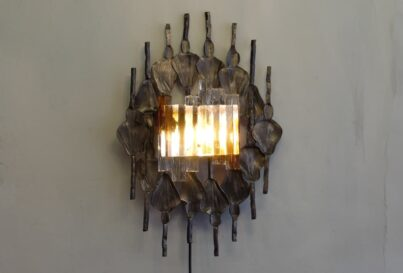 Tom Ahlstrom and Hans Ehrich Brutalist mid-century wall sconce A&E Leuchten