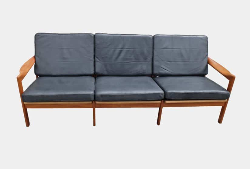 Illum Wikkelso three seat sofa produced by Eilersen, Denmark c1960