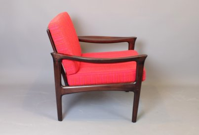 Danish midcentury mahogany lounge chair 1960's Danish mahogany lounge chair
