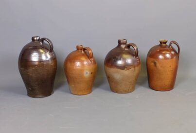 19th Century Bellarmine salt glazed stoneware jugs