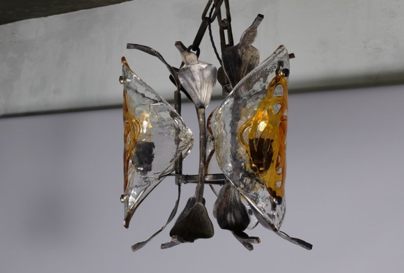 Brutalist cast iron and Murano glass ceiling light chandelier