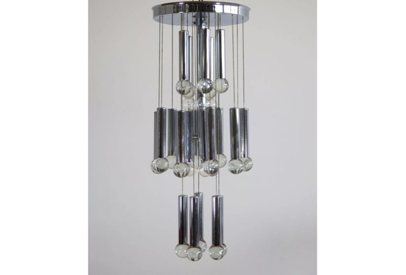 Gaetano Sciolari vintage Italian chandelier 1960's 1970's chrome and glass ceiling light
