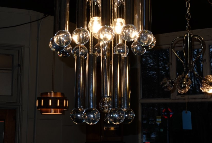 Gaetano Sciolari vintage Italian chandelier 1960's 1970's chrome and glass ceiling light 1960's 1970's ceiling light