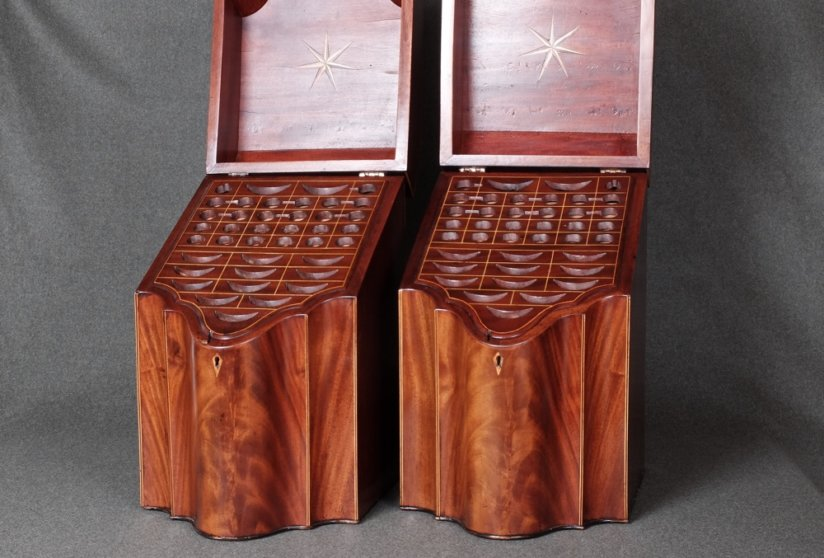 Pair of 18th Century Georgian mahogany knife boxes
