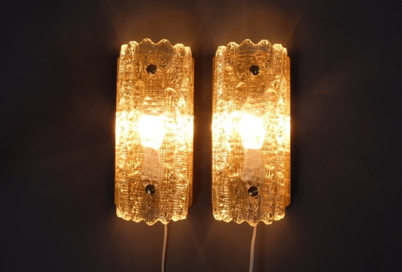 Carl Fagerlund wall sconces wall lights Swedish Orrefors glass by Lyfa 1960's Danish modern vintage lighting