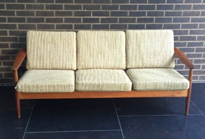 1960's Danish Mid-Century Scandinavian Modern teak sofa designed by Arne Vodder and produced by France and Son
