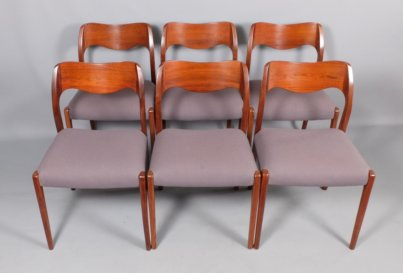 Arne Hovmand Olsen for J L Moller Danish Modern Mid-Century Rosewood dining chairs, Model 71