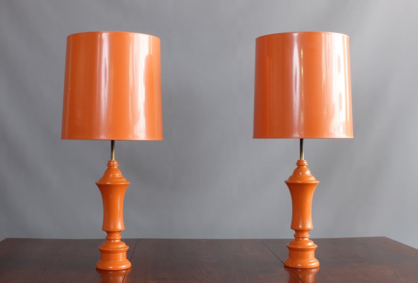 Pair 1960's Orange Table Lamps