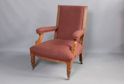 Victorian Oak library armchair