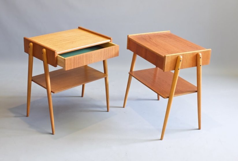 A Pair of Teak bedside tables A B Carlstrom and Co. Sweden 1960's