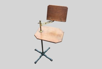 Victorian oak and brass adjustable reading table desk