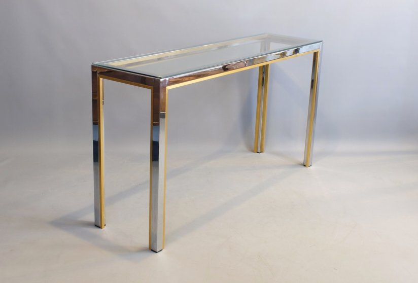 Renato Zevi brass and chrome console table Italy 1970's Hollywood Regency