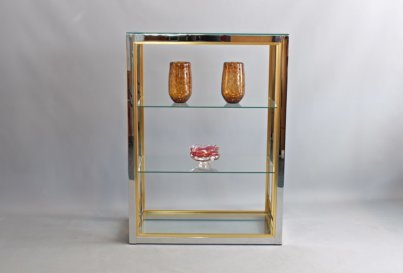 Renato Zevi brass and chrome etagere shelves Italy 1970's Hollywood Regency