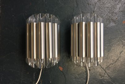A pair of Raak Septieme wall lights, perspex and aluminium, Netherlands, c1970.