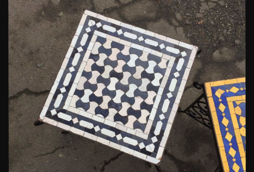 Vintage mid century wrought iron and tiled side tables