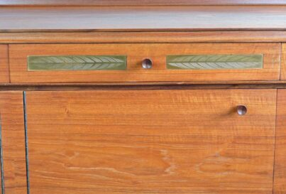 Robert Heritage teak sideboard with feather engraved brass inlay1960's