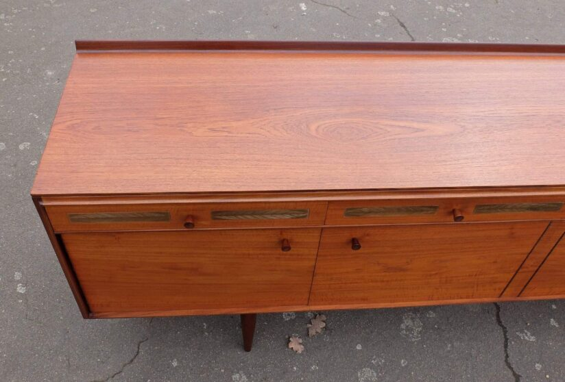 Robert Heritage teak sideboard with feather engraved brass inlay Archie Shine 1960's