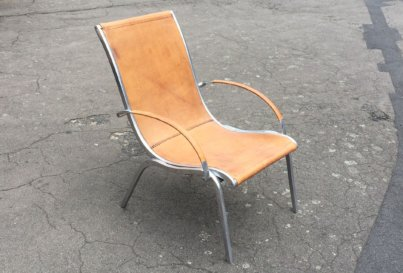 1960's aluminium and leather armchair