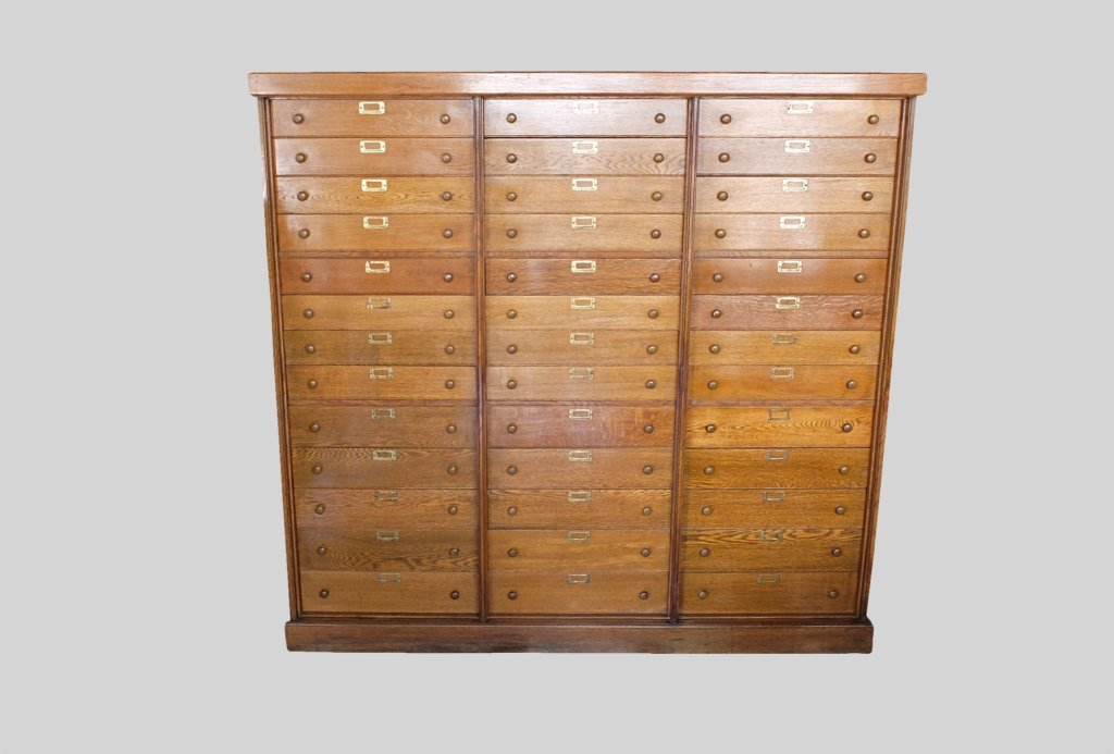 Large Oak Haberdashery, Pharmacy, Collectors chest of 39 drawers 1930's