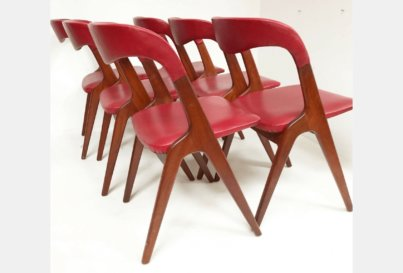 Set of 6 teak Johannes Andersen 'Sonja' dining chairs Danish 1960's