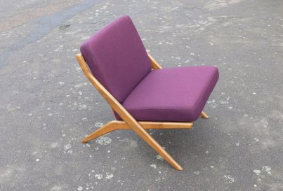 Danish X frame beech lounge chair