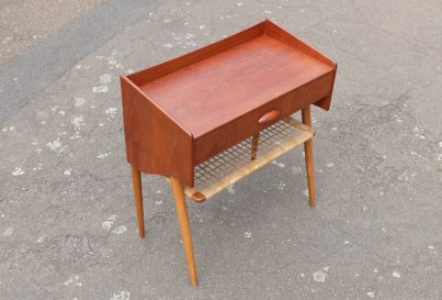 1960's Danish teak and oak side table with shelf