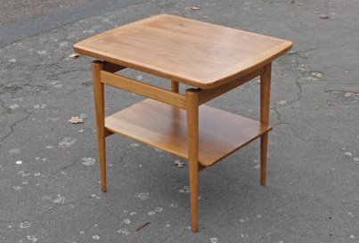 Two tier 1960's walnut side table