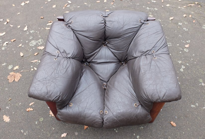 Percival Lafer Brazil 1960's Jacaranda and leather lounge chairs