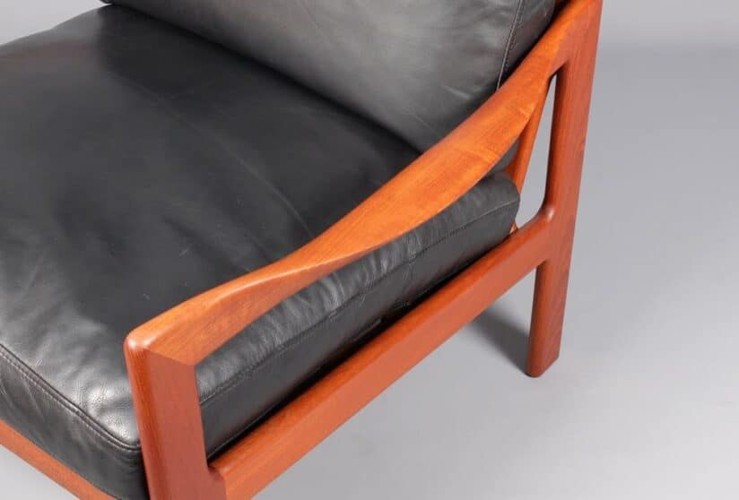 Illum Wikkelso Teak Armchairs view of arm from above - Gonnermann Highgate