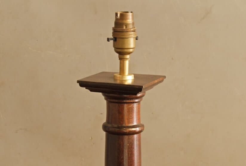 Early 20th Century architectural wooden table lamp
