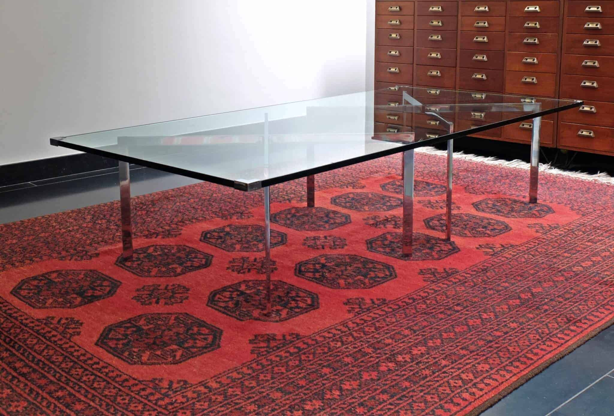 1970's glass and chrome coffee table