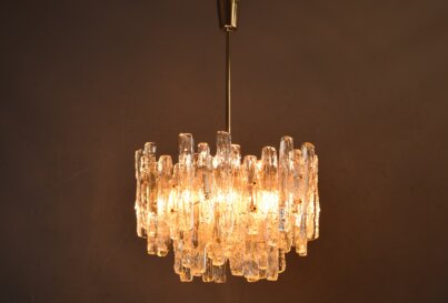 J T Kalmar Ice Glass Chandelier 1970