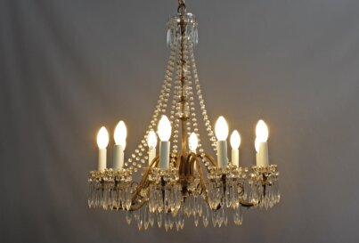 Antique Baroque French Style Marie Therese 9 Arm Crystal Drop 1930's Chandelier