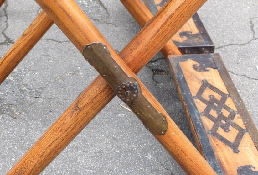 Antique elm Chinese folding bench