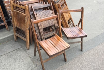 Large Quantity of Vintage Folding Wooden Chair