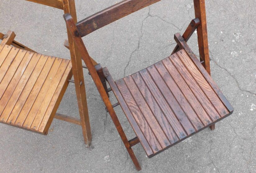 Vintage Folding Wooden Chair Seat Detail